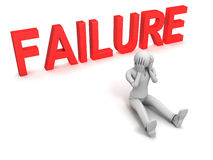 Failure. 3D image of man and failure sign, isolated on white Royalty Free Stock Photo
