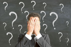Failure and fear concept. Young businessman covering face with palms on chalkboard background with question mark sketches. Failure and fear concept Royalty Free Stock Photography