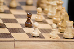 Failure, games, competition. In this game, the pawns are placed against each other Stock Photo