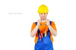 Failure guilty laborer regretful criminal handcuffed hard hat blue collar portrait on white Royalty Free Stock Images