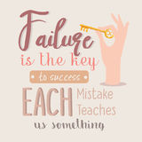 Failure is the key to success each mistakes teaches us something quotes motivation Royalty Free Stock Photography