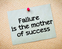 Failure is the mother of success. Message. Recycled paper note pinned on cork board. Concept Image Royalty Free Stock Image