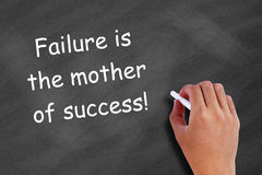 Failure is the mother of success. Written on blackboard Stock Images