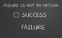 Failure is not an option. On a chalkboard. With no checkbox infront failure stock illustration