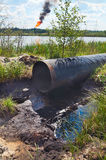 Failure on the oil pipeline stock image