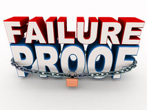 Failure proof. Words secured with chain and lock, concept of security against failure, checks in place Royalty Free Stock Image