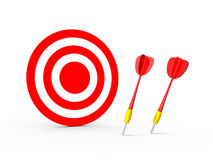Failure of Red Dart Arrows with Target. Failure of the red plastic arrows and red target standing, isolated on white background Stock Photography