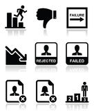 Failure, rejected man icons set Stock Photo