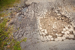 Failure of soil compaction and asphaltic cracking failure., Texture. Failure of soil compaction and asphaltic cracking failure Stock Photo