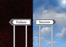 Failure and Success. Signs pointing to failure and success. If only it was so clear in real life Stock Images