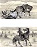 Failure and Success. A man thrown from a horse gets back in the saddle and rides to success Royalty Free Illustration