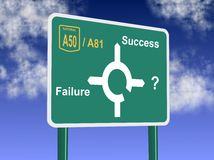 Failure or success. A road sign showing directions to failure and success stock illustration