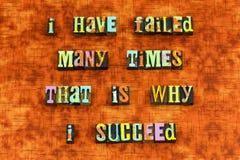 Failure success ambition hard work letterpress. Typography failed successful succeed business vision teamwork positive attitude optimism determination award stock photo