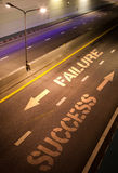 Failure and success arrow on road. Arrows on street pointing in two directions, one is the way to failure and the other one is the way to success Royalty Free Stock Photos