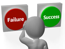 Failure Success Buttons Show Outcome Or Motivation Royalty Free Stock Photography