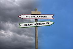 Failure, success. Double directional signs: success and failure with contrasted background Stock Photos