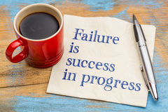 Failure is success in progress. Handwriting on a napkin with a cup of coffee Stock Photography