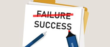 Failure is success in progress inspirational text. word marked on paper. Concept of business challenge. Vector Illustration