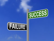 Failure And Success On Road Sign Stock Photos