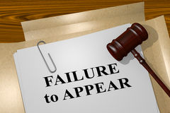 Failure to Appear - legal concept. 3D illustration of FAILURE to APPEAR title on legal document Royalty Free Stock Image