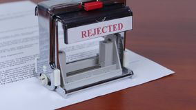 Failure to confirm the interaction. Rectangular stamp. Close up stock video