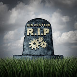 Failure To Innovate. And innovation problem as a grave stone with text and gear icons representing industry death due to lack of financial funding and stock illustration