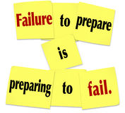 Failure to Prepare is Preparing to Fail Sticky Note Saying. Failure to Prepare is Preparing to Fail words in a saying or quote on sticky notes royalty free stock photo