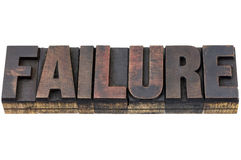 Failure word in wood type Royalty Free Stock Images