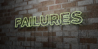 FAILURES - Glowing Neon Sign on stonework wall - 3D rendered royalty free stock illustration Royalty Free Stock Images