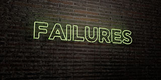 FAILURES -Realistic Neon Sign on Brick Wall background - 3D rendered royalty free stock image Royalty Free Stock Images
