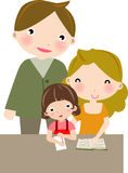 Faimly. Illustration of father,mother and daughter are taking up homework Stock Photos