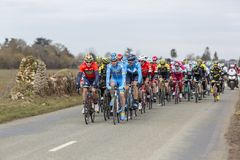 The Peloton - Paris-Nice 2018 royalty free stock photo