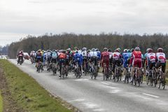 The Peloton - Paris-Nice 2018 stock photography