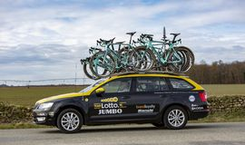 Technical Car of LottoNL-Jumbo Team - Paris-Nice 2018 stock image