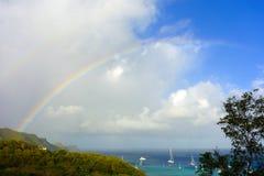 A faint rainbow the caribbean Stock Photos