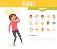 Faint. Reasons. Vector. Cartoon. Stock Photography