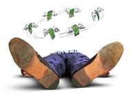 Fainted man and money Stock Image