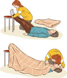 Fainting in shock and first aid. A vector image (fainting in shock and first aid vector illustration