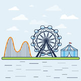 Fair. Amusement park with a Ferris wheel, a roller coaster and a circus tent. Vector illustration Stock Photos