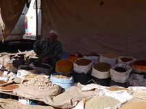 Fair in Beni Mellal. Photo taken in the bigest fair in Morocco. Picture show of the man sells spices and herbs Royalty Free Stock Photos