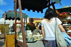 Fair in the capital of Estonia Tallinn at the Town Hall Square i stock photo