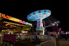 Fair carnival ferry wheel in speed Stock Photography