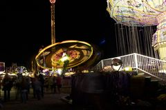 Fair carnival ferry wheel in speed Royalty Free Stock Photo