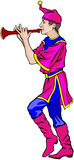Fair dancer with the flute. Vector illustration of a young fairground dancer playing the flute Stock Image