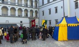 Fair and festival in old European city Stock Photos
