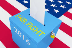 Fair Fight election concept. 3D illustration of FAIR FIGHT, 2016 scripts and on ballot box, with US flag as a background. Election Concept Royalty Free Stock Images