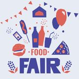 Fair food poster. Poster for state fair, country festival. Vector illustration with street and fast food, farmer's market, carnival, cart, attraction vector illustration