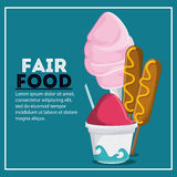 Fair food snack carnival icon. Corn dog ice cream cotton candy fair food snack carnival festival icon Vector illustration royalty free illustration