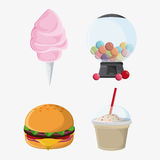 Fair food snack carnival icon. Cotton candy hamburger sphere milk shake fair food snack carnival festival icon Vector illustration royalty free illustration