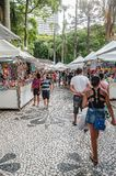 Fair at General Osorio square. Curitiba - PR, Brazil - December 15, 2018: Shops selling food and crafts at open air fair at Feira da Praca General Osorio. Local royalty free stock image